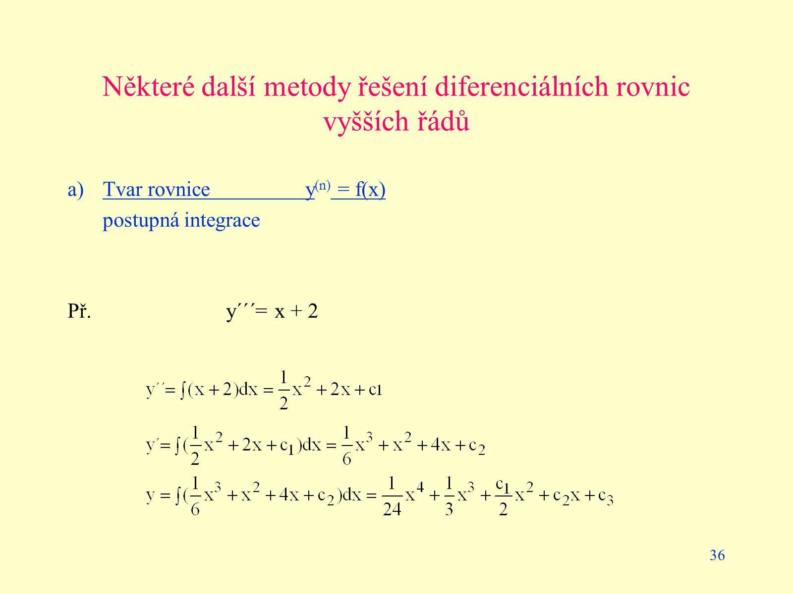 Některé další metody řešení diferenciálních rovnic vyšších řádů
