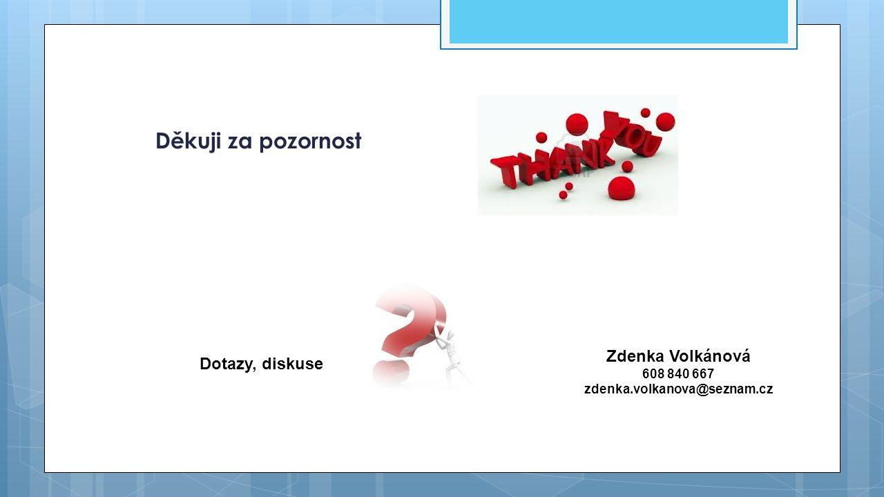Děkuji za pozornost Zdenka Volkánová Dotazy, diskuse 608 840 667