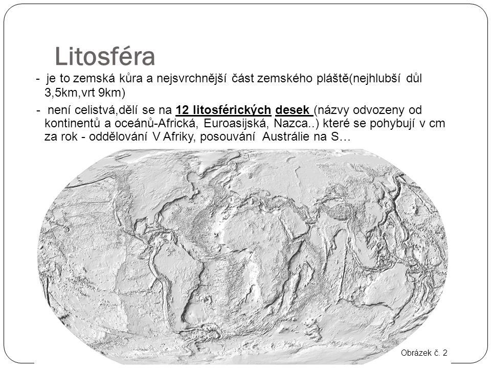 Litosféra - je to zemská kůra a nejsvrchnější část zemského pláště(nejhlubší důl 3,5km,vrt 9km)
