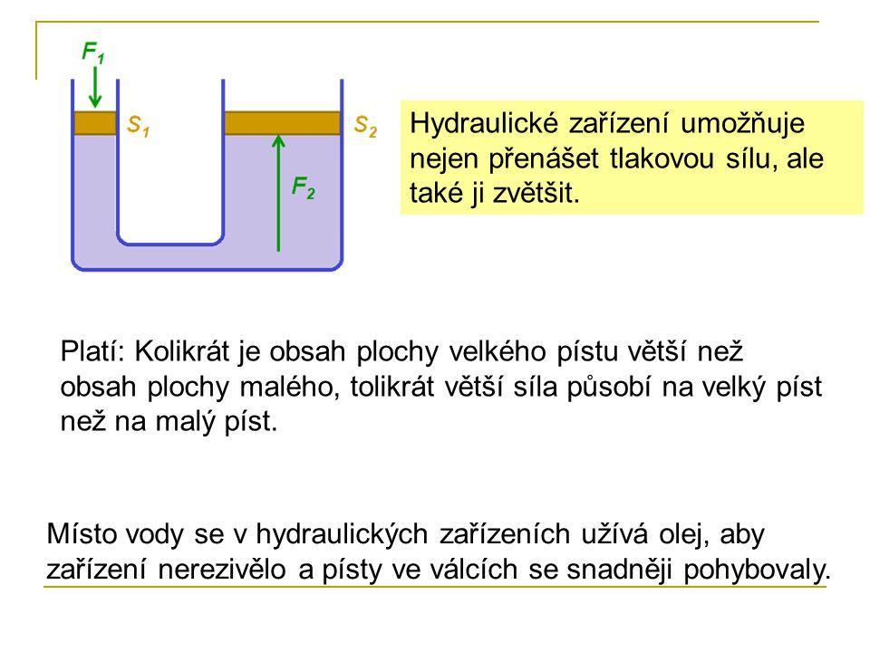 Hydraulické zařízení umožňuje nejen přenášet tlakovou sílu, ale také ji zvětšit.