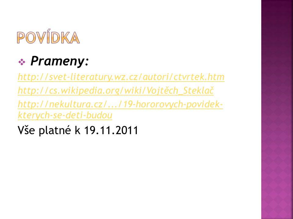 povídka Prameny: Vše platné k 19.11.2011