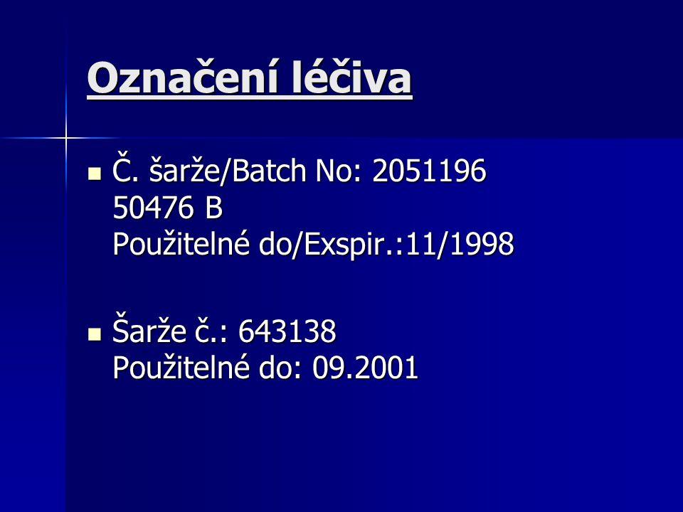 Označení léčiva Č. šarže/Batch No: 2051196 50476 B Použitelné do/Exspir.:11/1998.