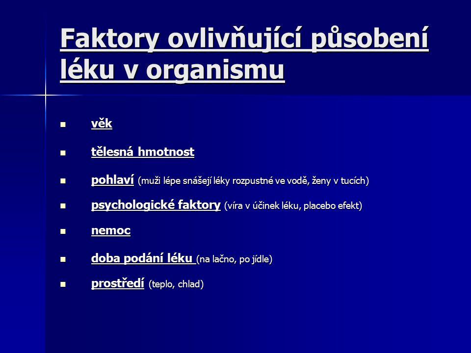 Faktory ovlivňující působení léku v organismu