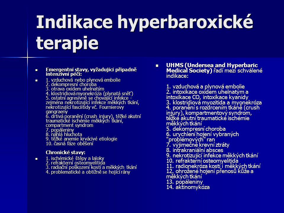 Indikace hyperbaroxické terapie