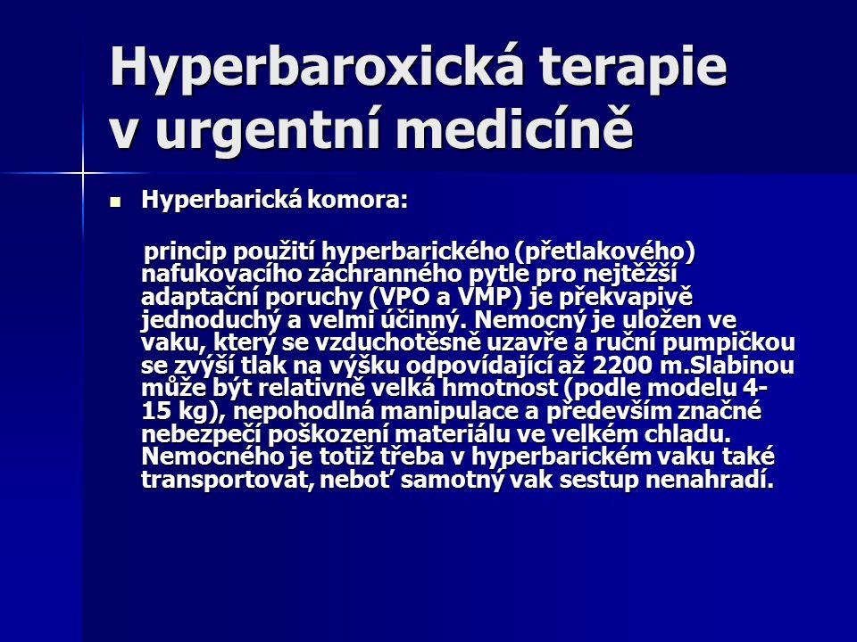 Hyperbaroxická terapie v urgentní medicíně