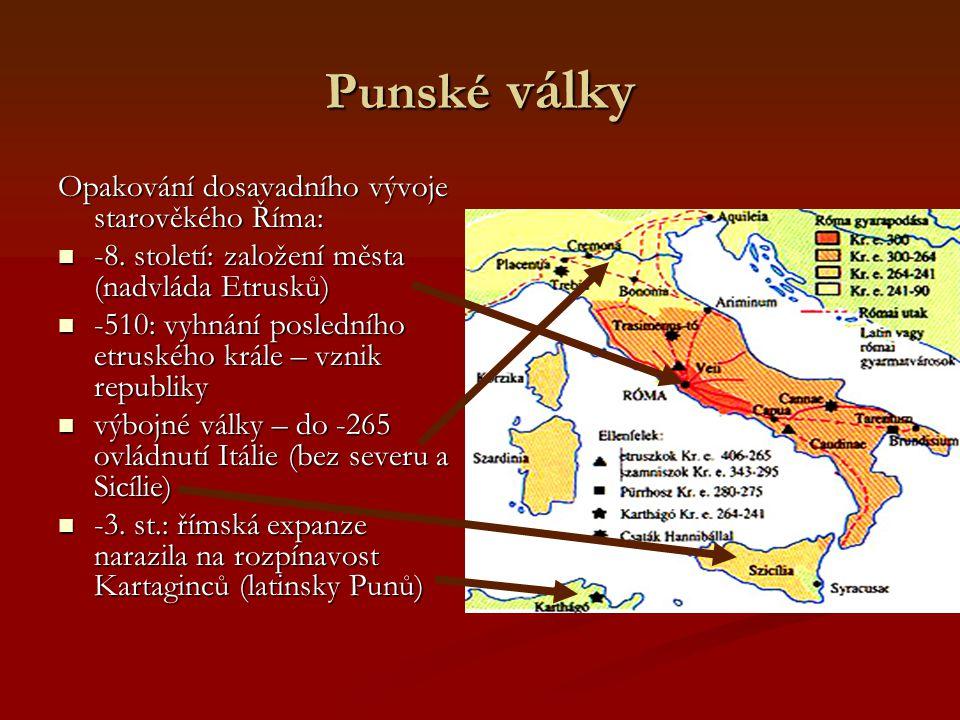 Punské války Opakování dosavadního vývoje starověkého Říma: