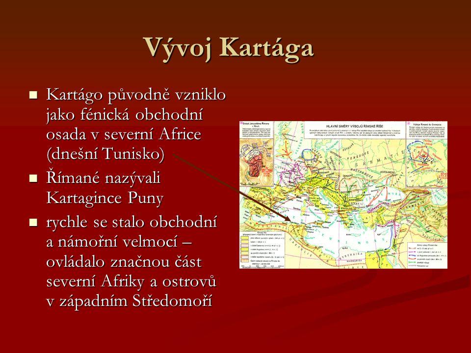Vývoj Kartága Kartágo původně vzniklo jako fénická obchodní osada v severní Africe (dnešní Tunisko)