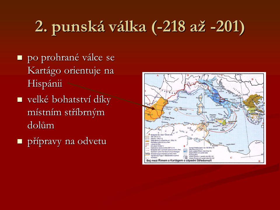 2. punská válka (-218 až -201) po prohrané válce se Kartágo orientuje na Hispánii. velké bohatství díky místním stříbrným dolům.