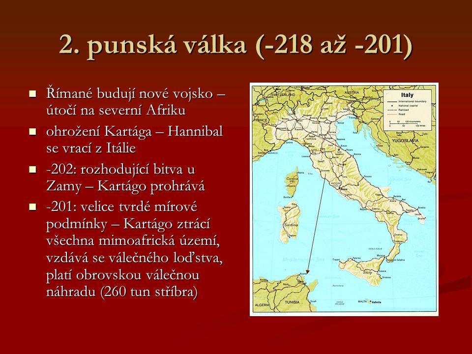 2. punská válka (-218 až -201) Římané budují nové vojsko – útočí na severní Afriku. ohrožení Kartága – Hannibal se vrací z Itálie.