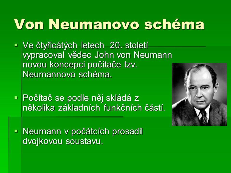 Von Neumanovo schéma Ve čtyřicátých letech 20. století vypracoval vědec John von Neumann novou koncepci počítače tzv. Neumannovo schéma.