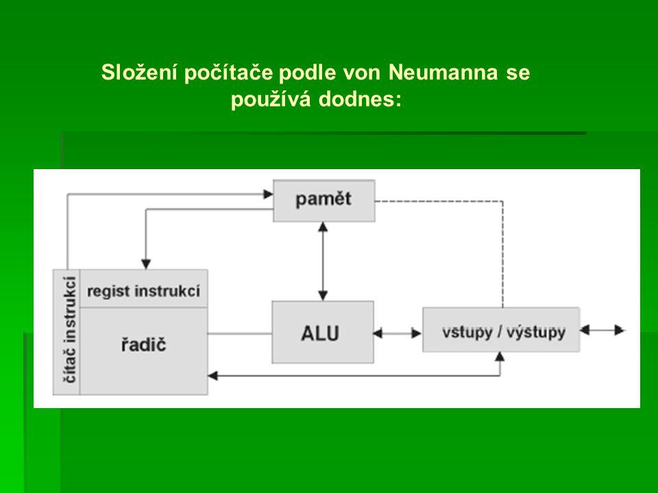 Složení počítače podle von Neumanna se používá dodnes:
