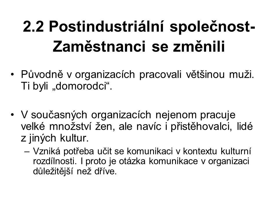 2.2 Postindustriální společnost- Zaměstnanci se změnili