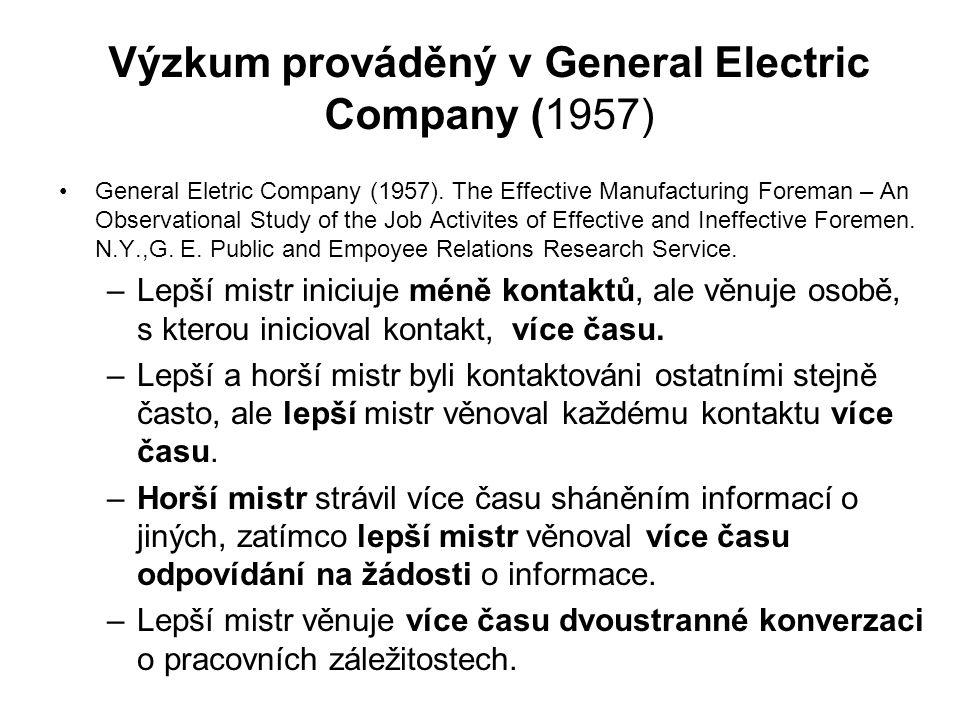 Výzkum prováděný v General Electric Company (1957)