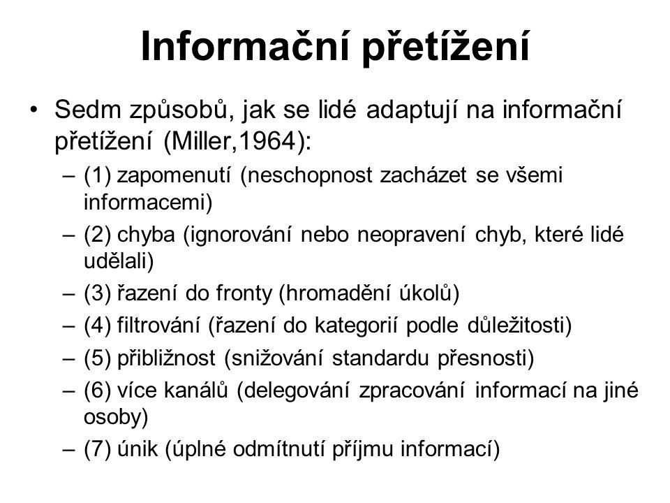 Informační přetížení Sedm způsobů, jak se lidé adaptují na informační přetížení (Miller,1964):