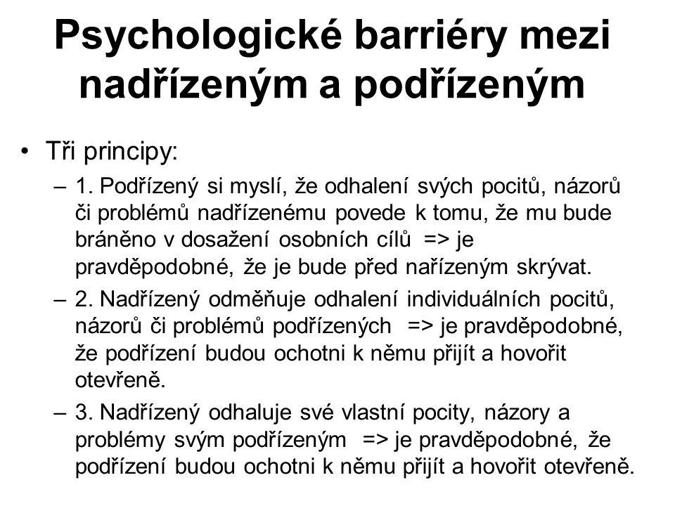 Psychologické barriéry mezi nadřízeným a podřízeným