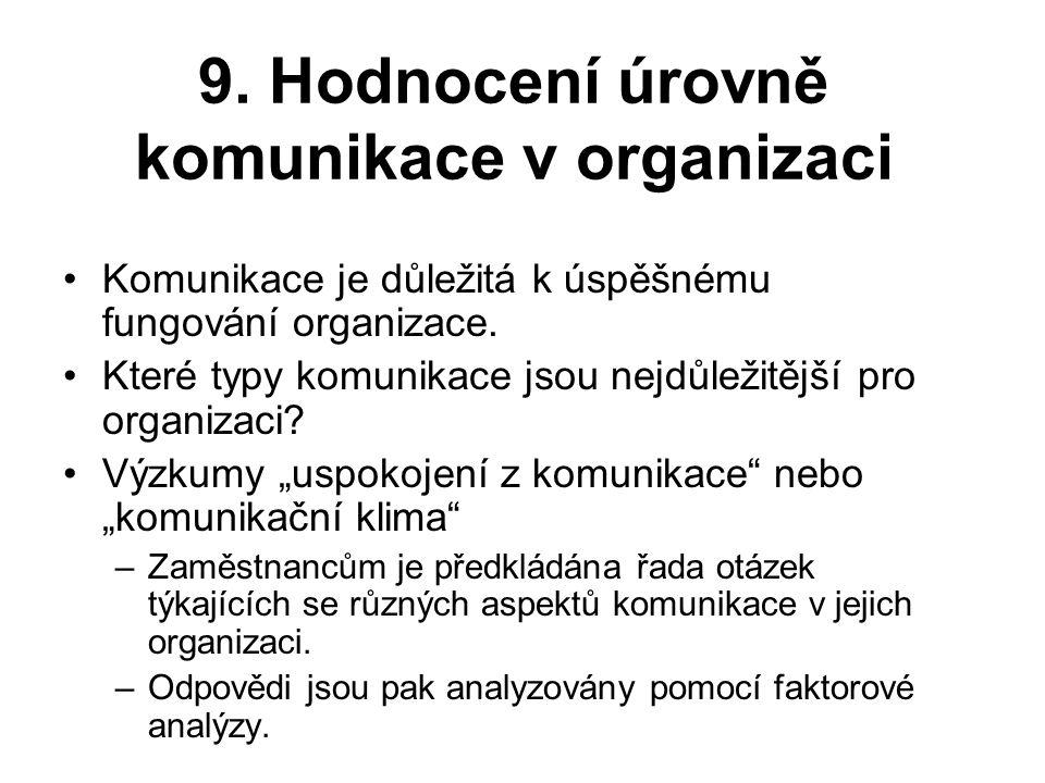 9. Hodnocení úrovně komunikace v organizaci