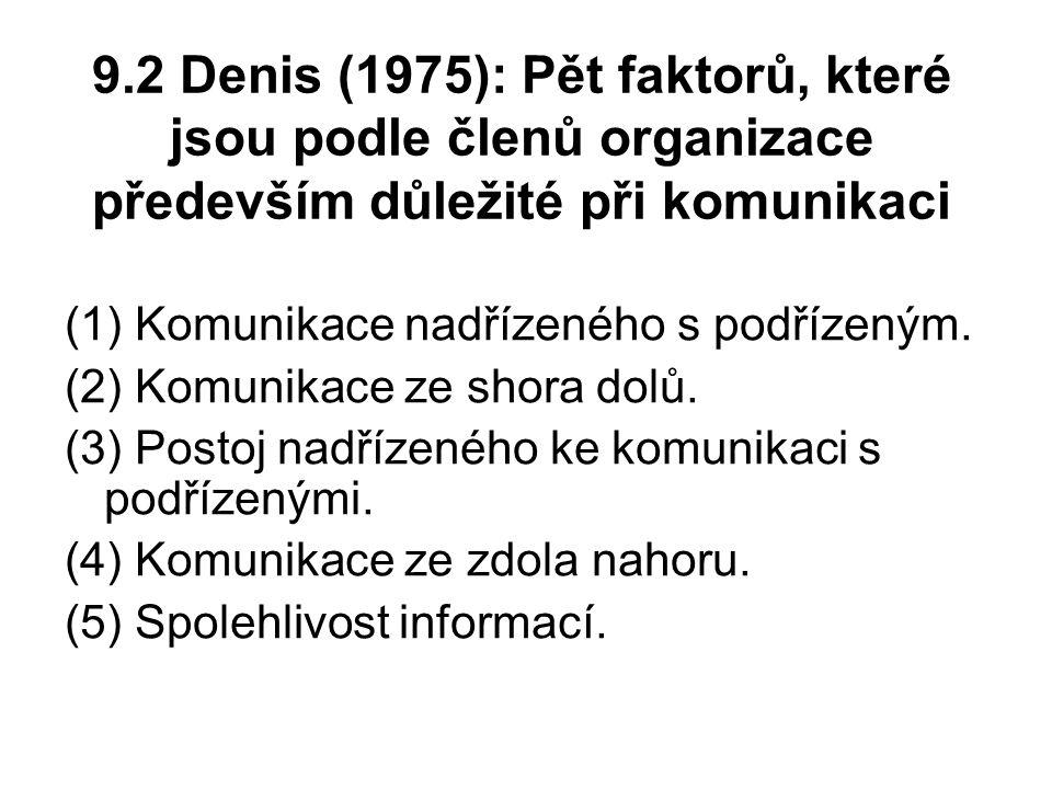 9.2 Denis (1975): Pět faktorů, které jsou podle členů organizace především důležité při komunikaci