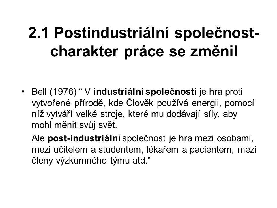 2.1 Postindustriální společnost- charakter práce se změnil