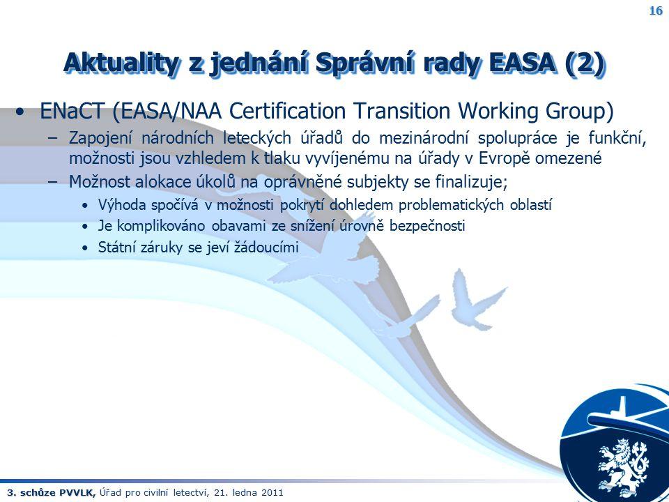 Aktuality z jednání Správní rady EASA (2)