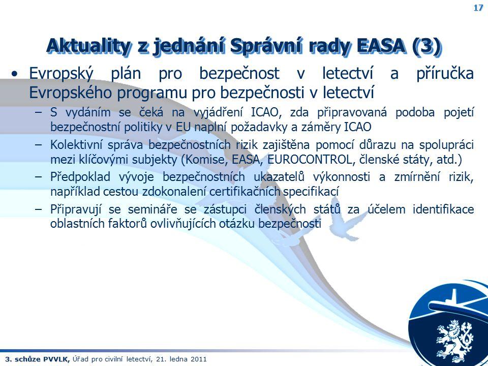 Aktuality z jednání Správní rady EASA (3)