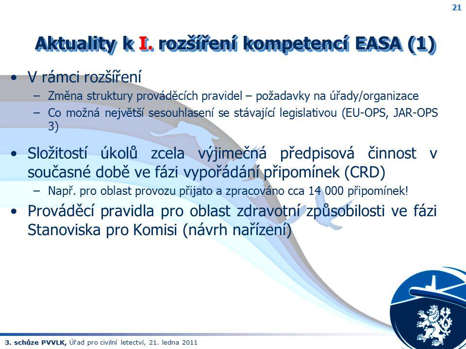 Aktuality k I. rozšíření kompetencí EASA (1)