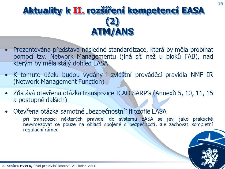 Aktuality k II. rozšíření kompetencí EASA (2) ATM/ANS