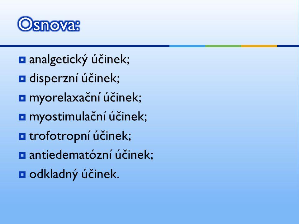 Osnova: analgetický účinek; disperzní účinek; myorelaxační účinek;