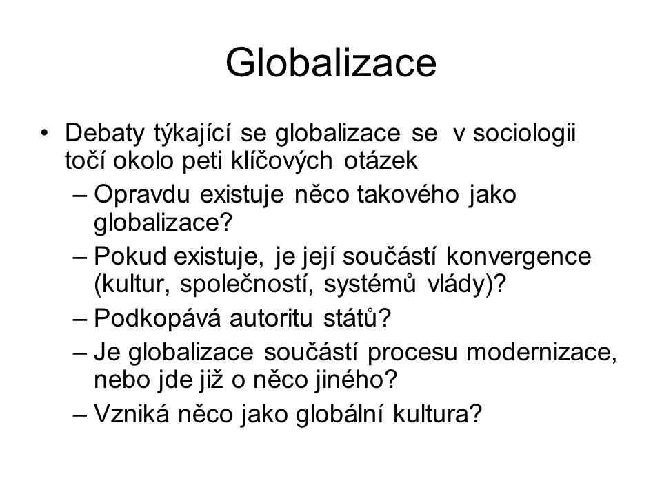 Globalizace Debaty týkající se globalizace se v sociologii točí okolo peti klíčových otázek. Opravdu existuje něco takového jako globalizace
