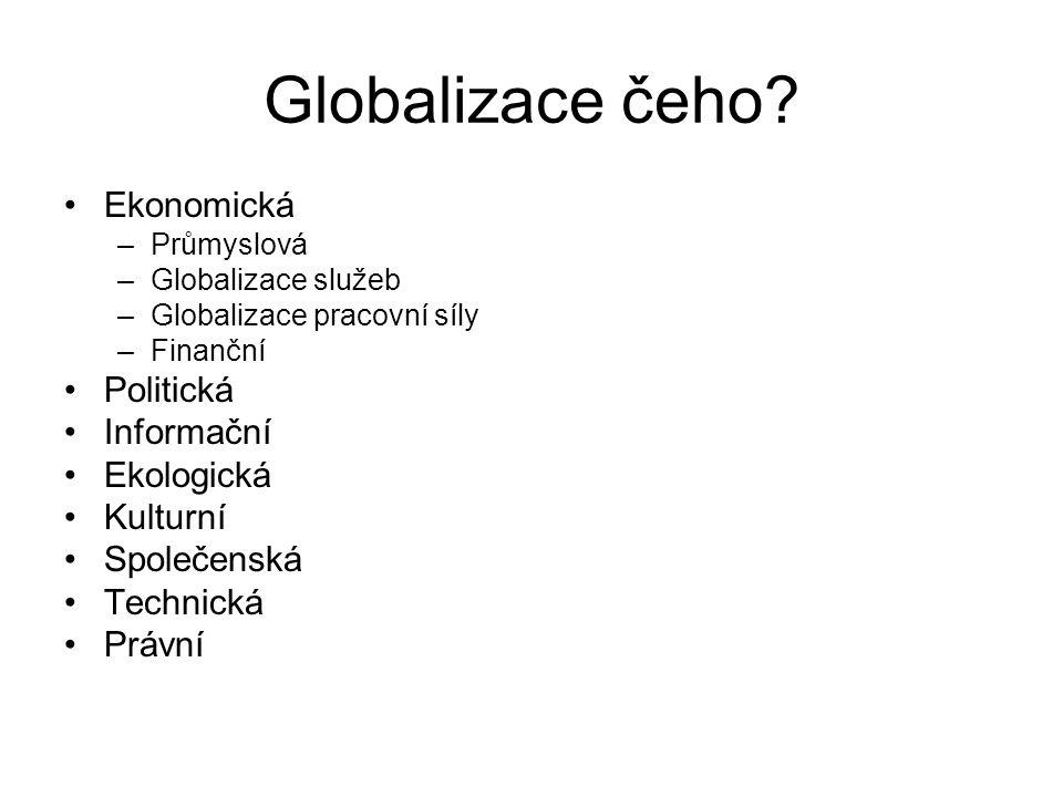 Globalizace čeho Ekonomická Politická Informační Ekologická Kulturní