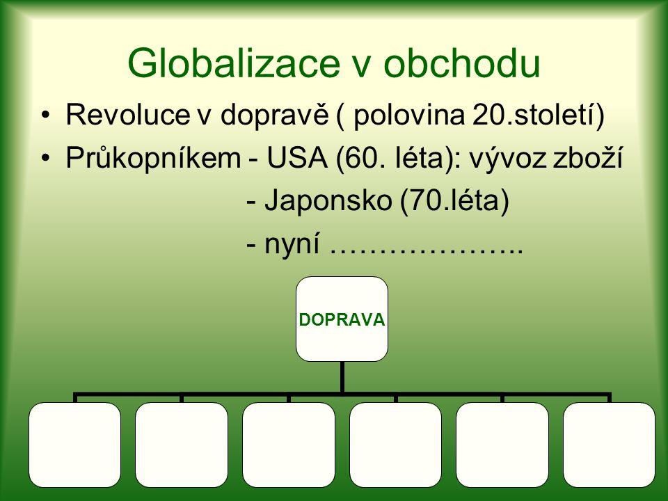 Globalizace v obchodu Revoluce v dopravě ( polovina 20.století)