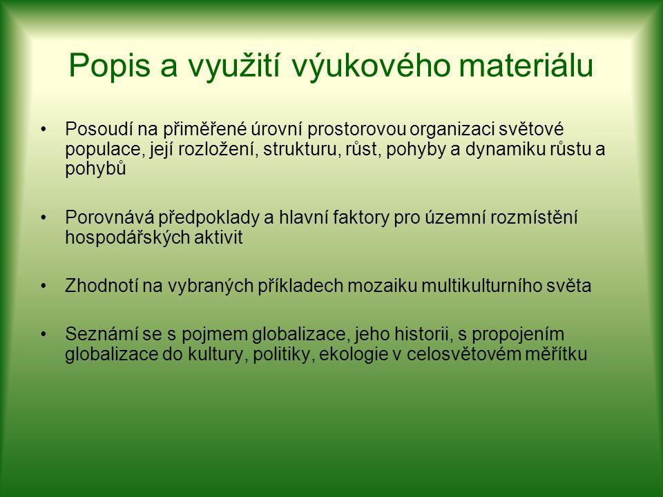 Popis a využití výukového materiálu