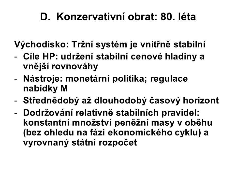 D. Konzervativní obrat: 80. léta