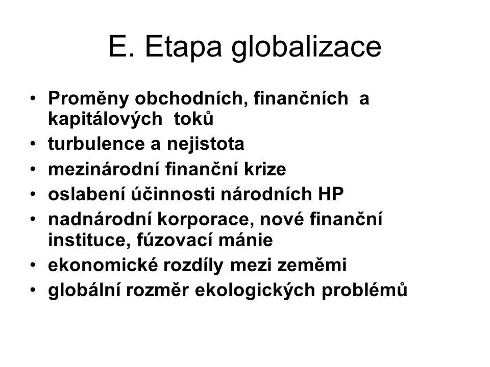 E. Etapa globalizace Proměny obchodních, finančních a kapitálových toků. turbulence a nejistota.