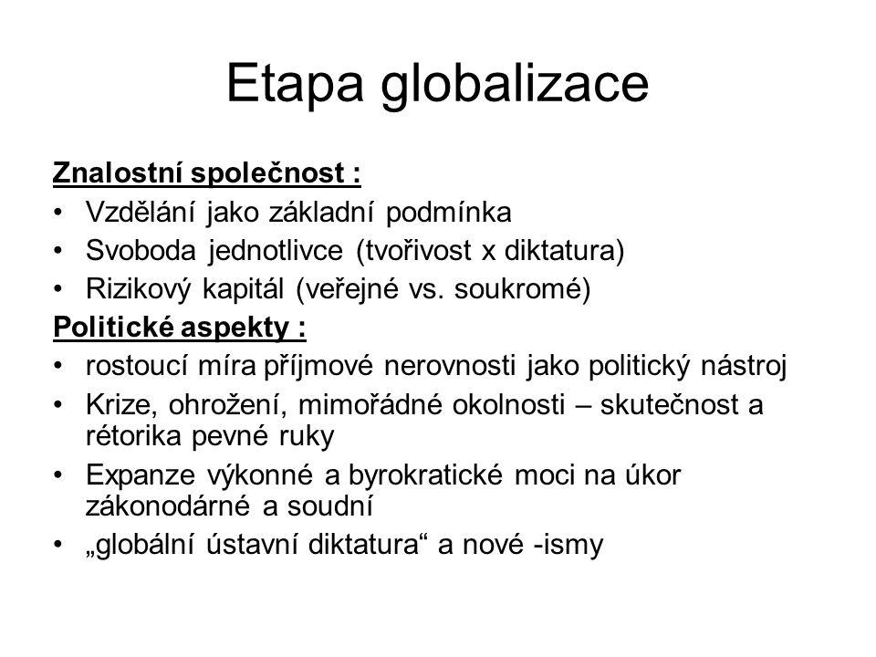 Etapa globalizace Znalostní společnost :