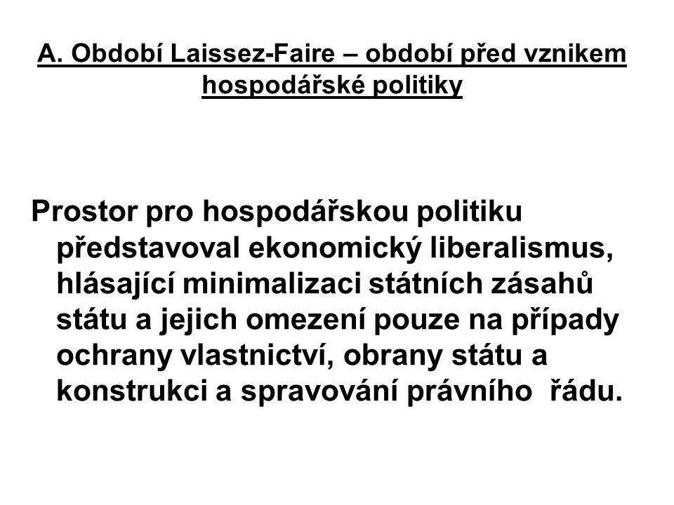 A. Období Laissez-Faire – období před vznikem hospodářské politiky
