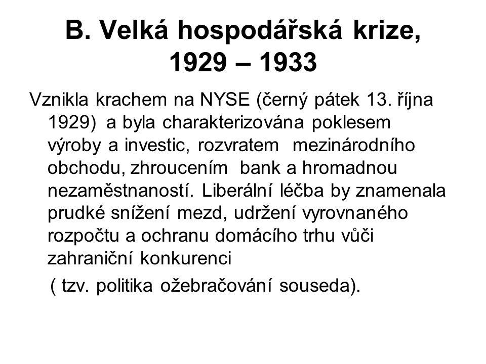 B. Velká hospodářská krize, 1929 – 1933