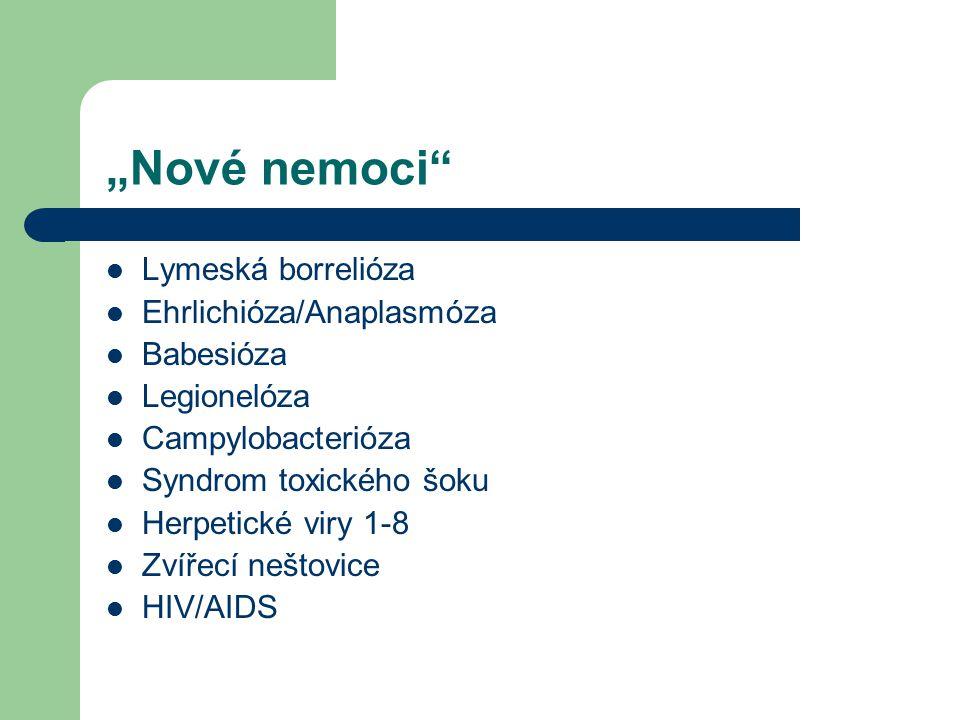 """Nové nemoci Lymeská borrelióza Ehrlichióza/Anaplasmóza Babesióza"