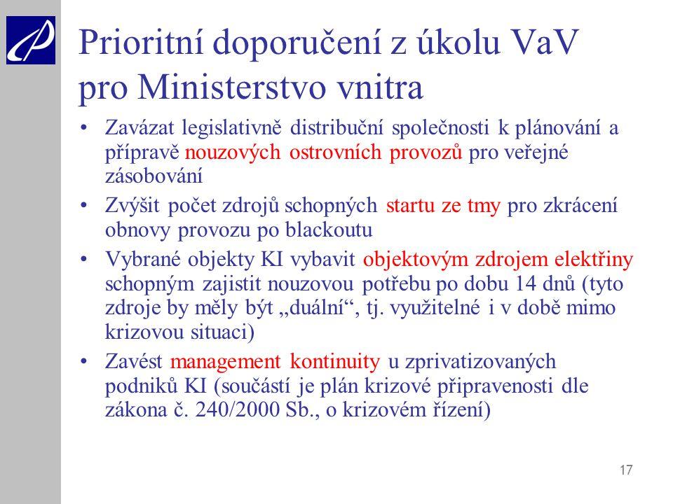 Prioritní doporučení z úkolu VaV pro Ministerstvo vnitra