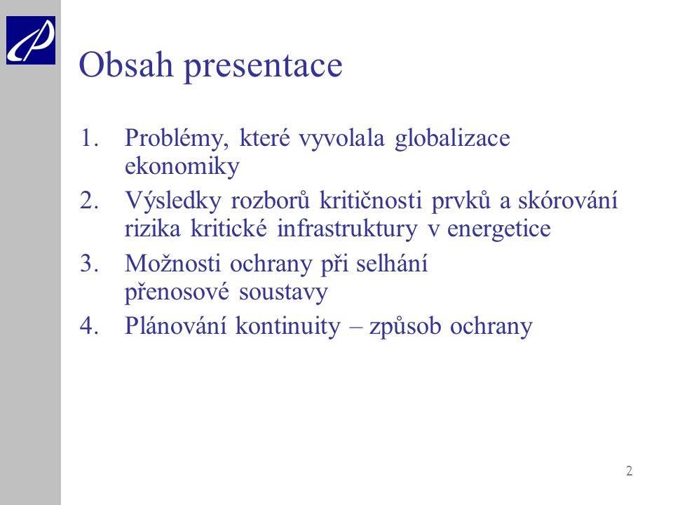 Obsah presentace Problémy, které vyvolala globalizace ekonomiky