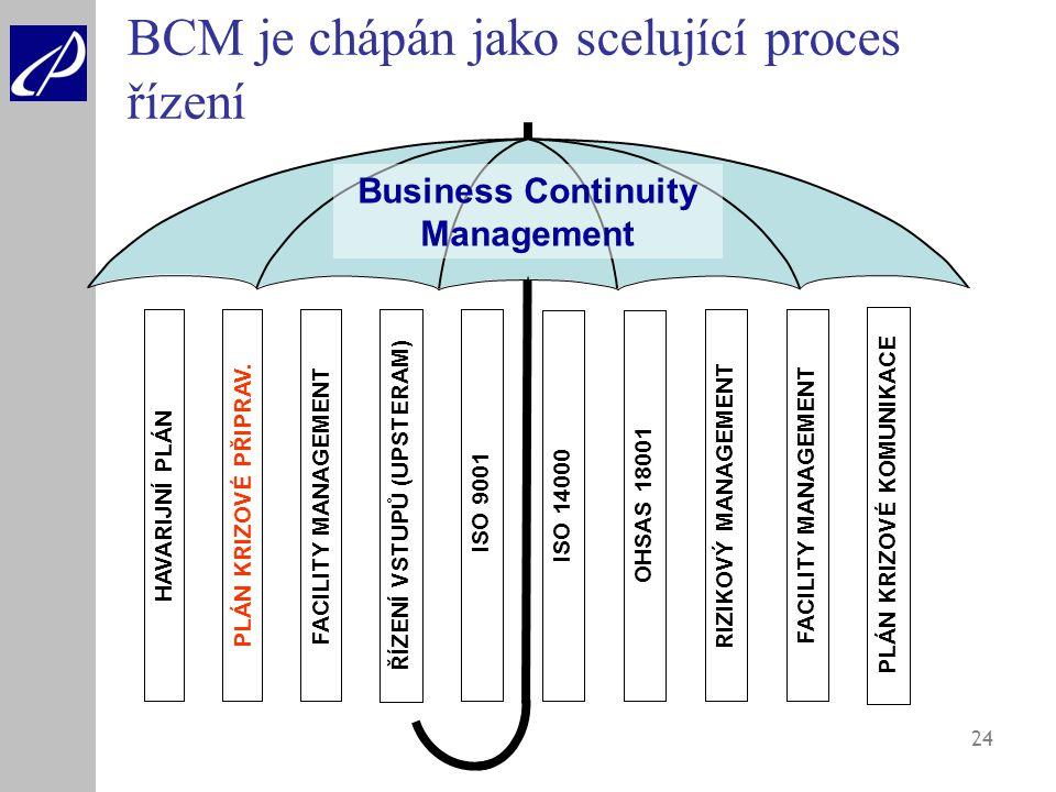 BCM je chápán jako scelující proces řízení