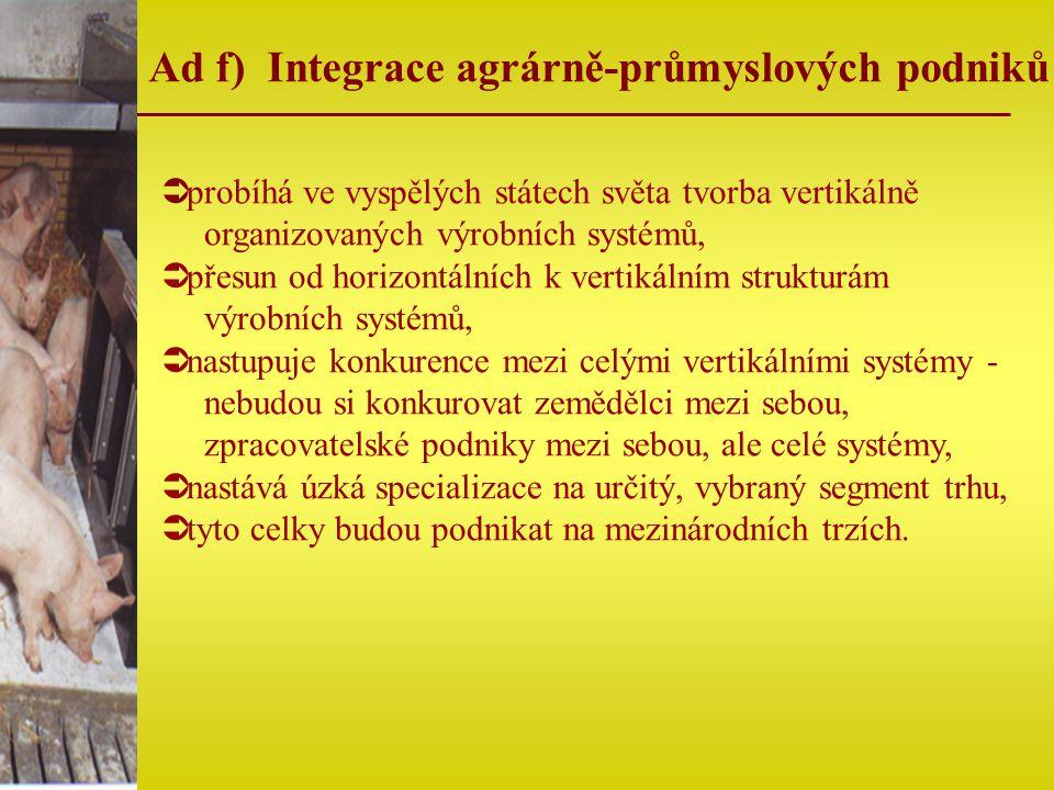 Ad f) Integrace agrárně-průmyslových podniků