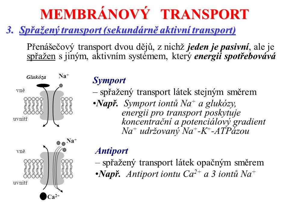 MEMBRÁNOVÝ TRANSPORT 3. Spřažený transport (sekundárně aktivní transport)