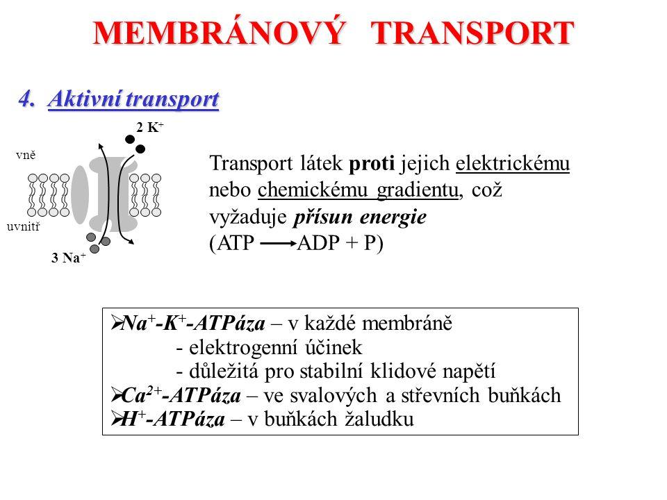 MEMBRÁNOVÝ TRANSPORT 4. Aktivní transport