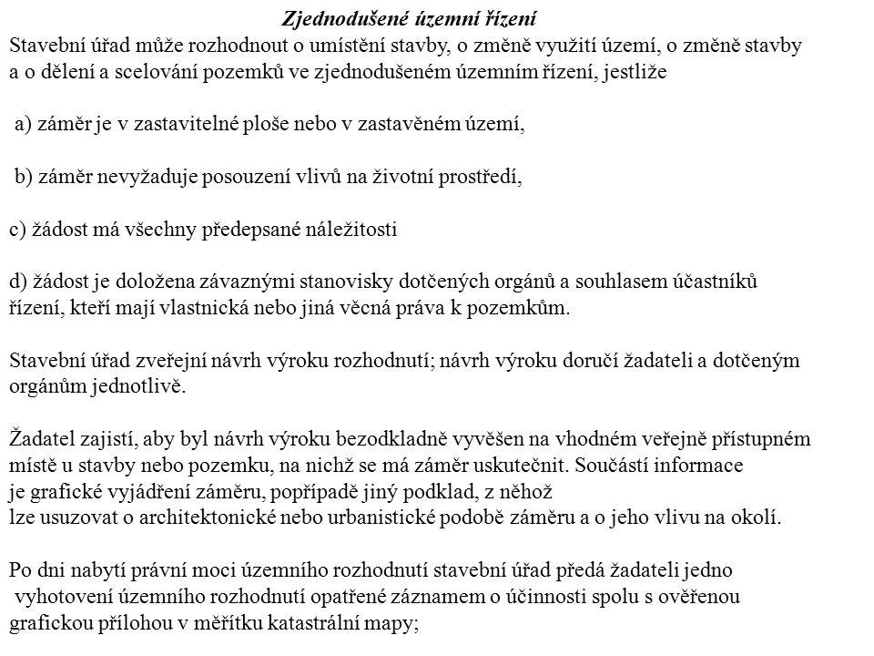 Zjednodušené územní řízení
