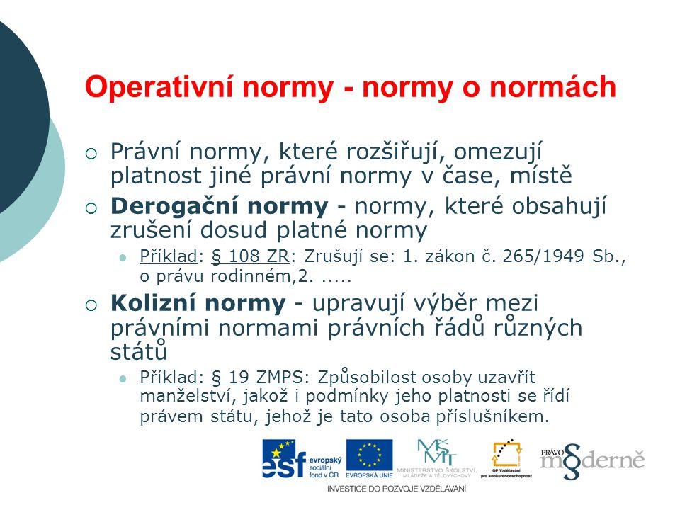 Operativní normy - normy o normách