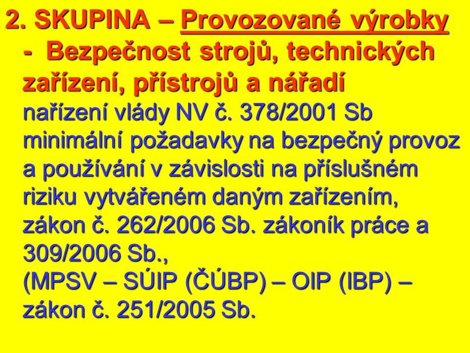 2. SKUPINA – Provozované výrobky - Bezpečnost strojů, technických zařízení, přístrojů a nářadí