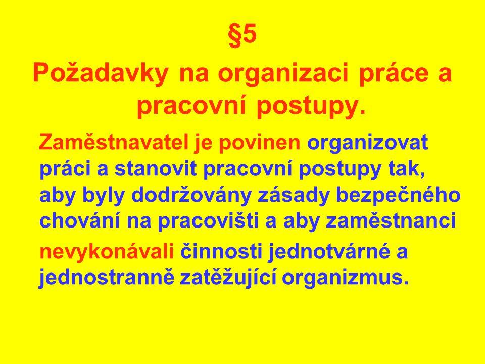 Požadavky na organizaci práce a pracovní postupy.