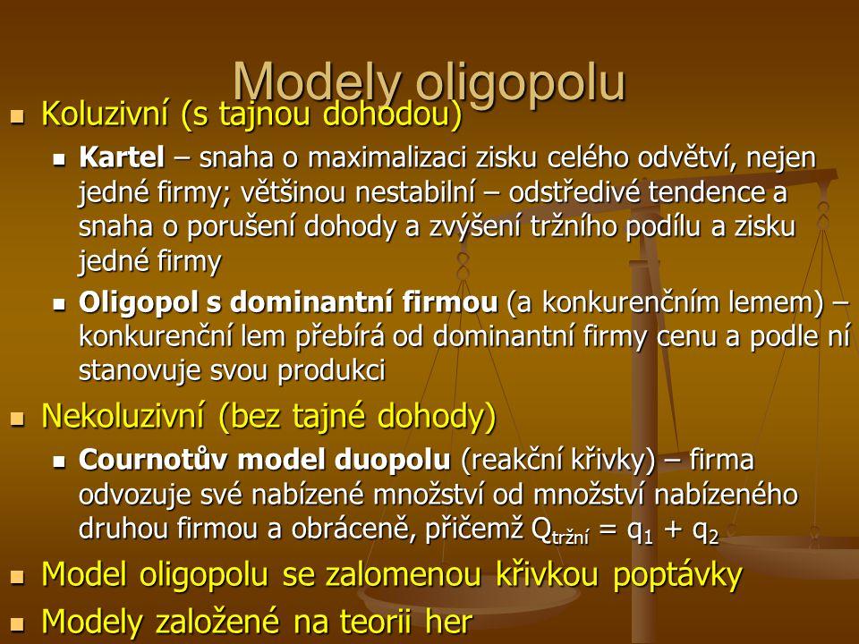 Modely oligopolu Koluzivní (s tajnou dohodou)