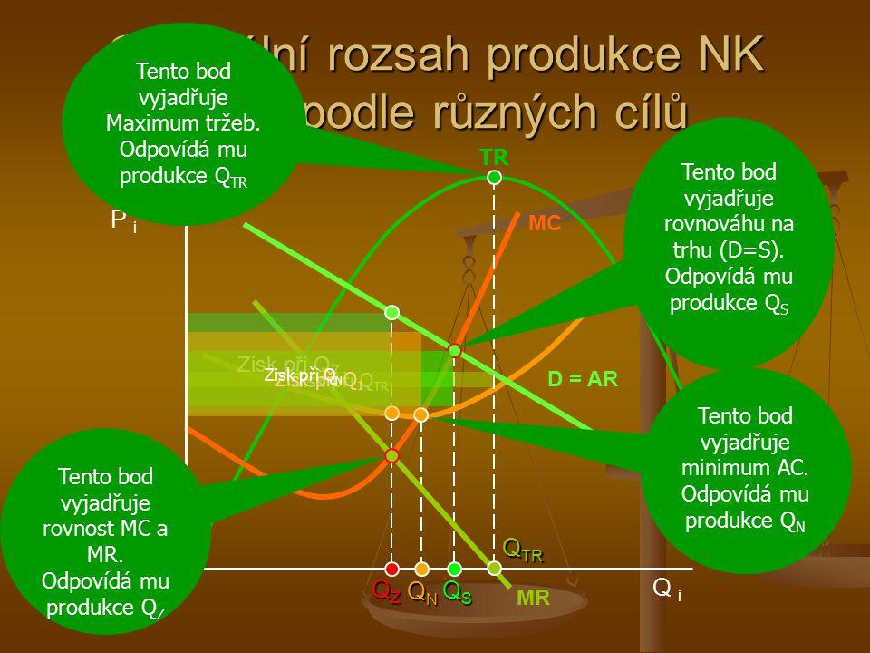 Optimální rozsah produkce NK firmy podle různých cílů