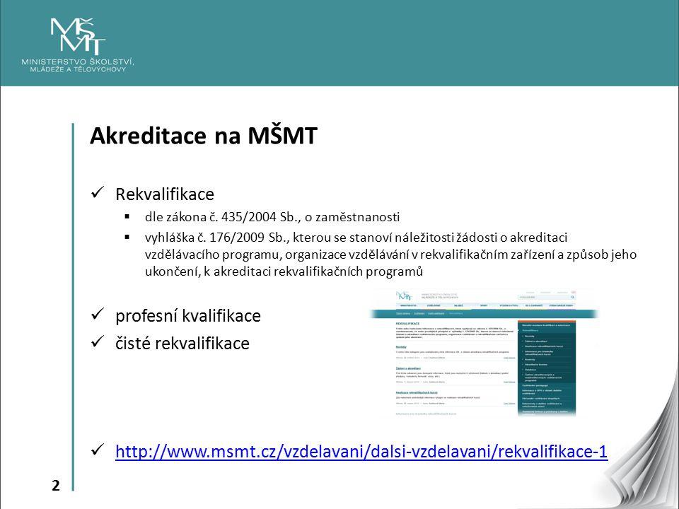 Akreditace na MŠMT Rekvalifikace profesní kvalifikace